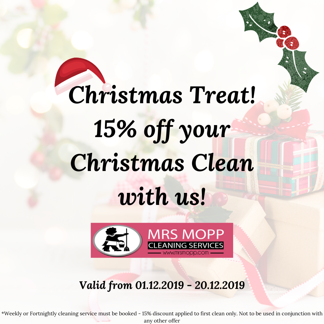 15% discount for your Christmas clean with us. To accompany our 10 must-do steps to get your home ready for Christmas!
